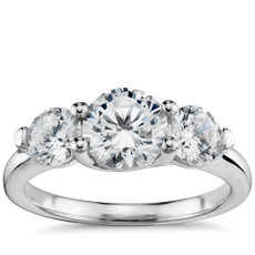 Three-Stone Petite Trellis Diamond Engagement Ring in Platinum